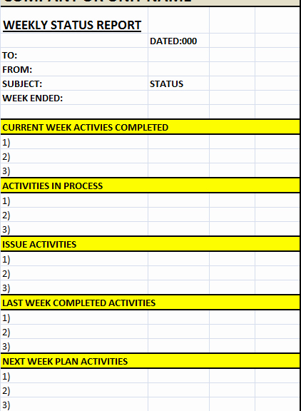 Weekly Status Report Template Excel New Weekly Status Report Template – Excel Word Templates