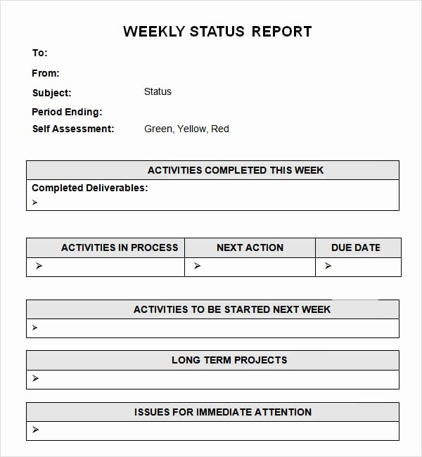 Weekly Status Report Template Excel Unique 7 Weekly Status Report Templates Word Excel Pdf formats