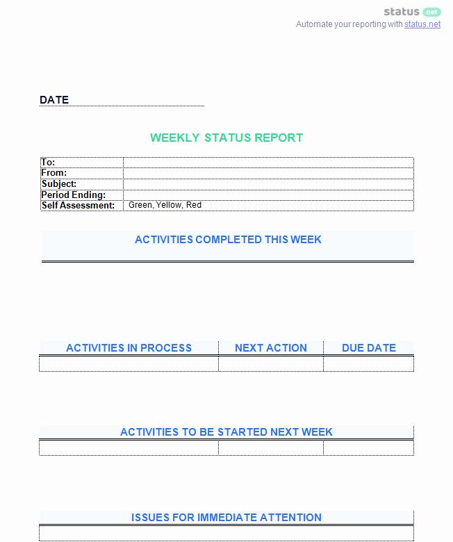 Weekly Status Report Template Word Best Of 6 Awesome Weekly Status Report Templates