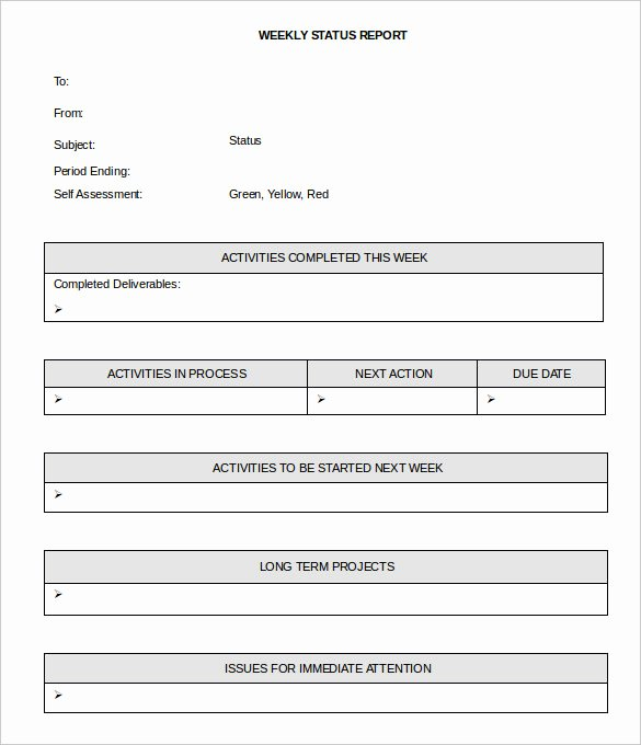 Weekly Status Report Template Word Elegant 33 Weekly Activity Report Templates Pdf Doc