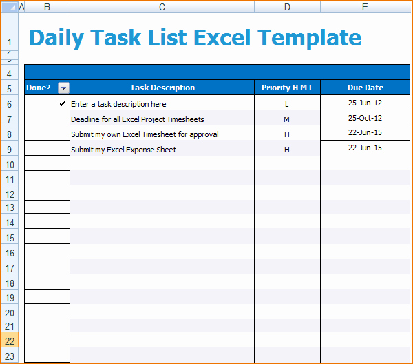 Weekly Task List Template Excel Fresh 3 Daily Task Template