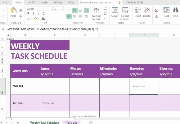 Weekly Task List Template Excel Lovely Weekly Task List Template for Excel Line