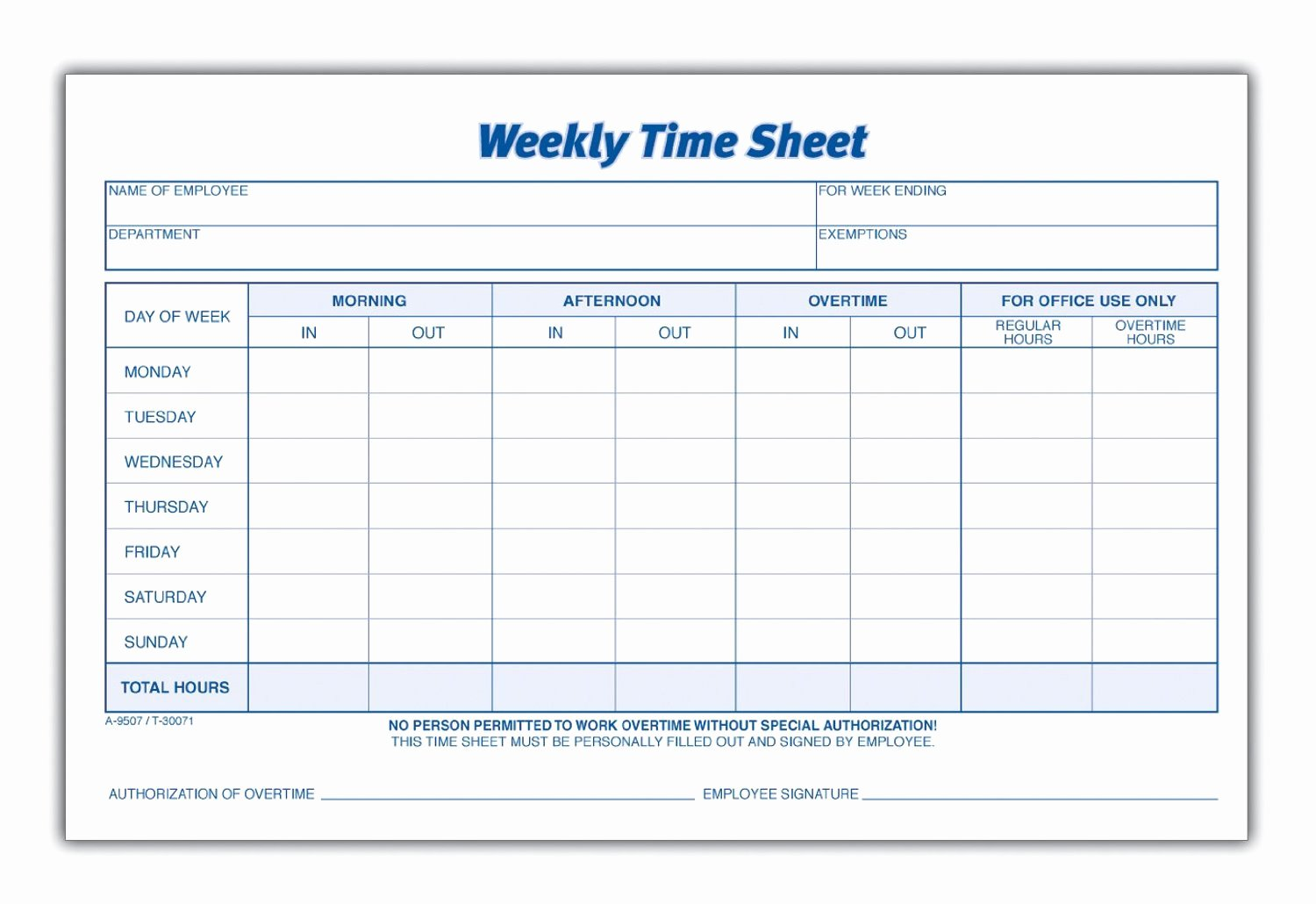 Weekly Time Card Template Best Of 8 Best Of Blank Printable Timesheets Free