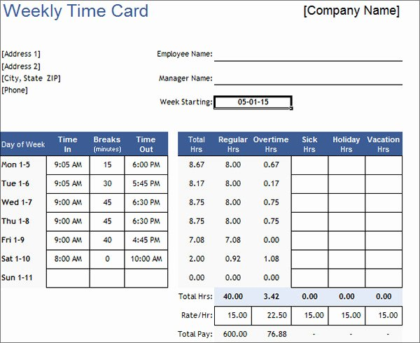 Weekly Time Card Template Lovely 16 Free Amazing Time Card Calculator Templates