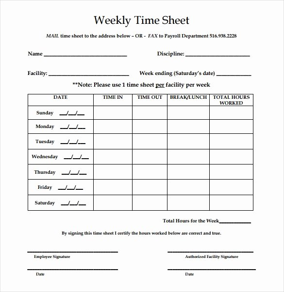 Weekly Time Card Template Lovely 22 Weekly Timesheet Templates – Free Sample Example