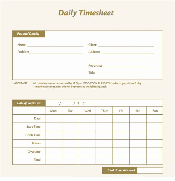 Weekly Time Card Template Lovely Daily Timesheet Template 15 Free Download for Pdf Excel