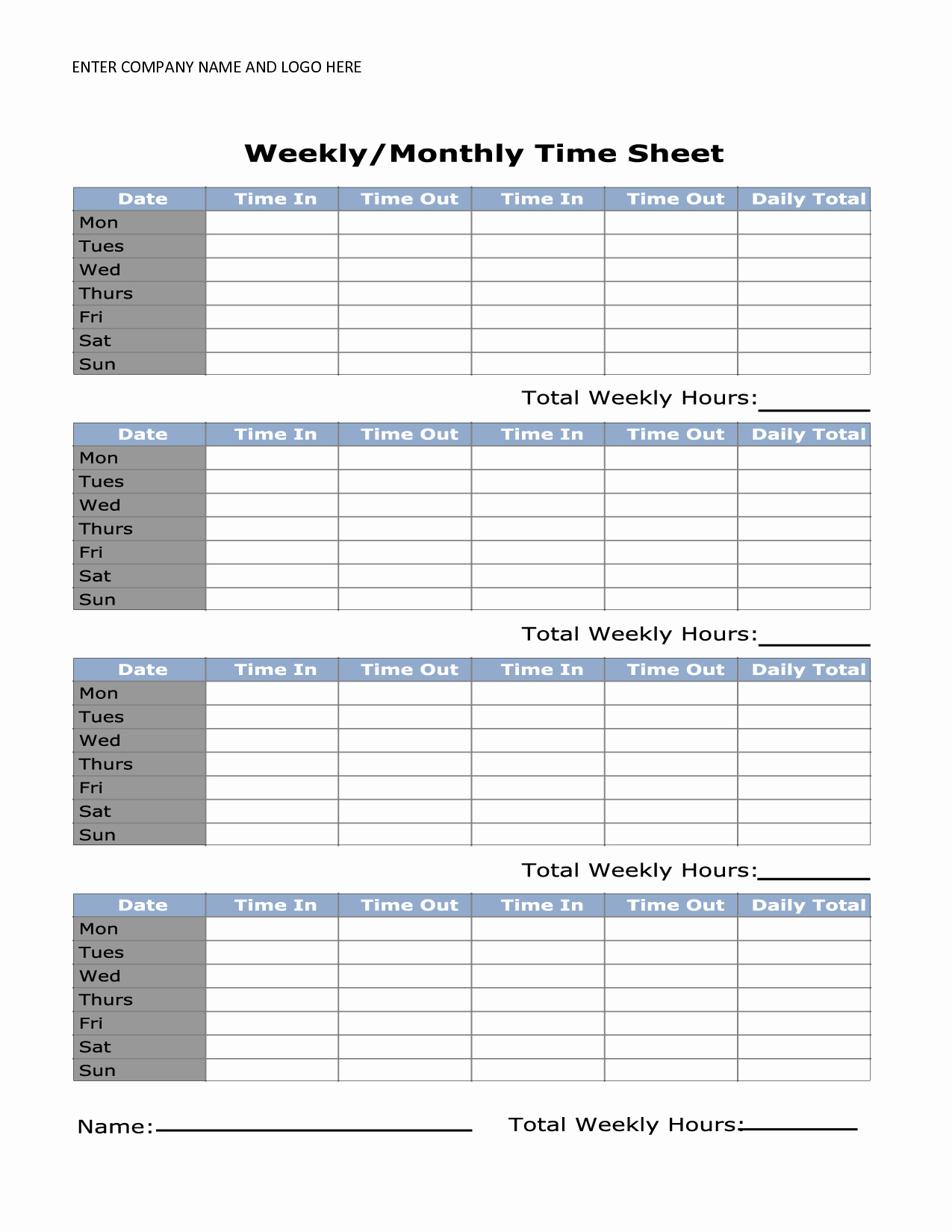 Weekly Time Card Template Lovely Printable Weekly Timesheet Template Uma Printable