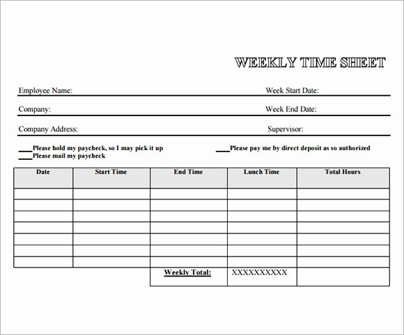 Weekly Time Card Template Luxury 13 Employee Timesheet Samples