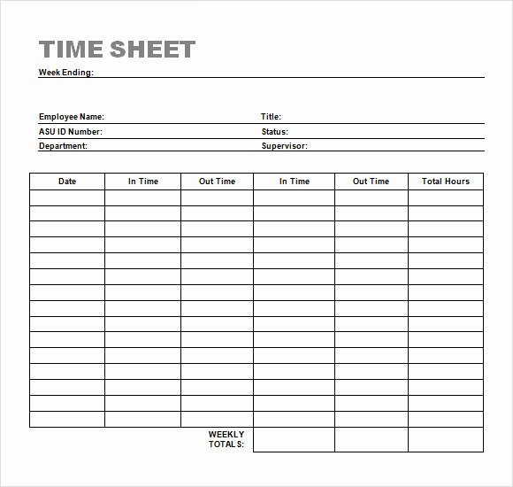 Weekly Time Card Template Luxury 24 Sample Time Sheets