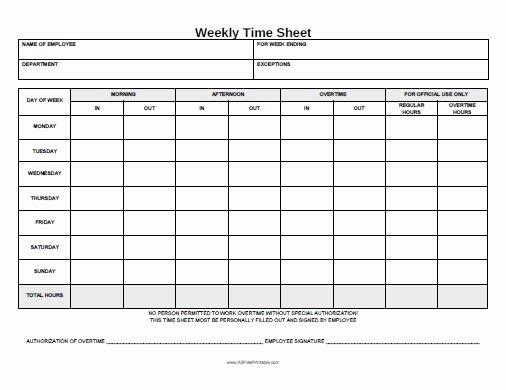 Weekly Time Card Template Luxury Weekly Time Sheet Free Printable Allfreeprintable