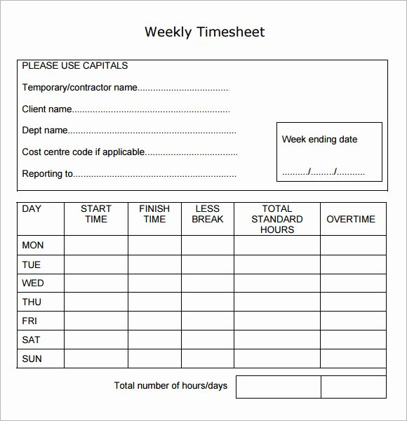 Weekly Time Card Template New 15 Sample Weekly Timesheet Templates for Free Download