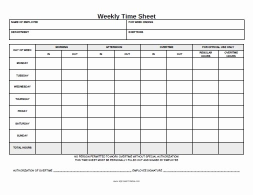 Weekly Time Card Template New Weekly Time Sheet form Free Printable Myfreeprintable