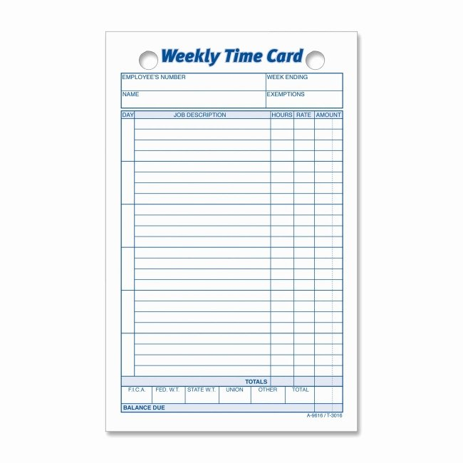 Weekly Time Card Template Unique Printer