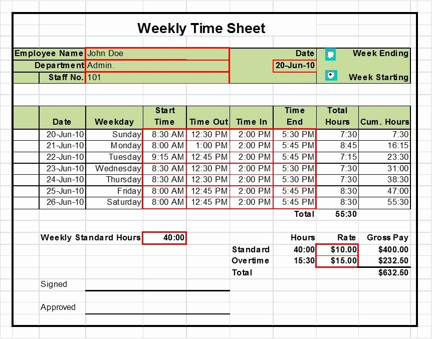 Weekly Time Sheet Template Beautiful Excel Timesheet Templates