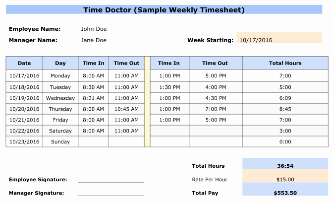 Weekly Time Sheet Template Beautiful Free Weekly Bi Weekly & Monthly Employee Timesheet Templates