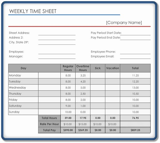 Weekly Time Sheet Template Beautiful Weekly Timesheet Template – 5 Free Templates In Excel