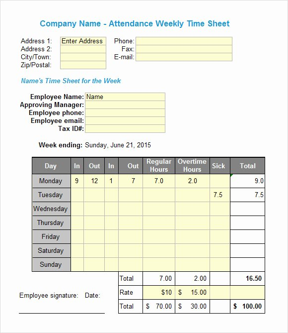 Weekly Time Sheet Template Best Of Excel Timesheet Sample 18 Documents In Excel