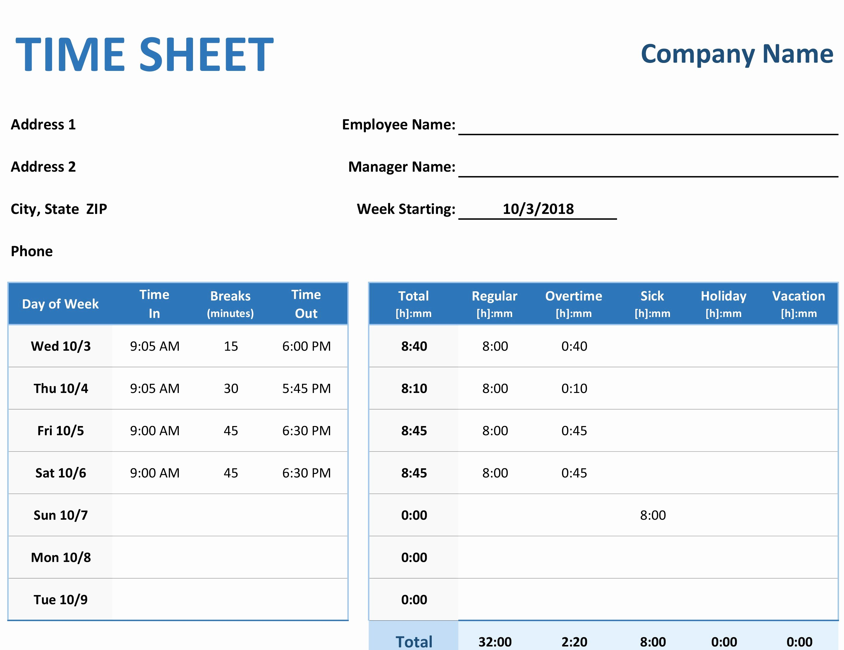 Weekly Time Sheet Template Best Of Time Sheet