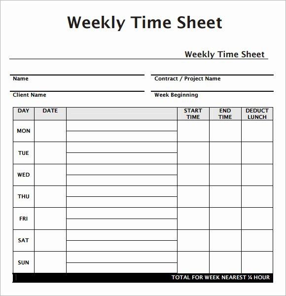 Weekly Time Sheet Template Best Of Weekly Timesheet Template 7 Free Download for Pdf