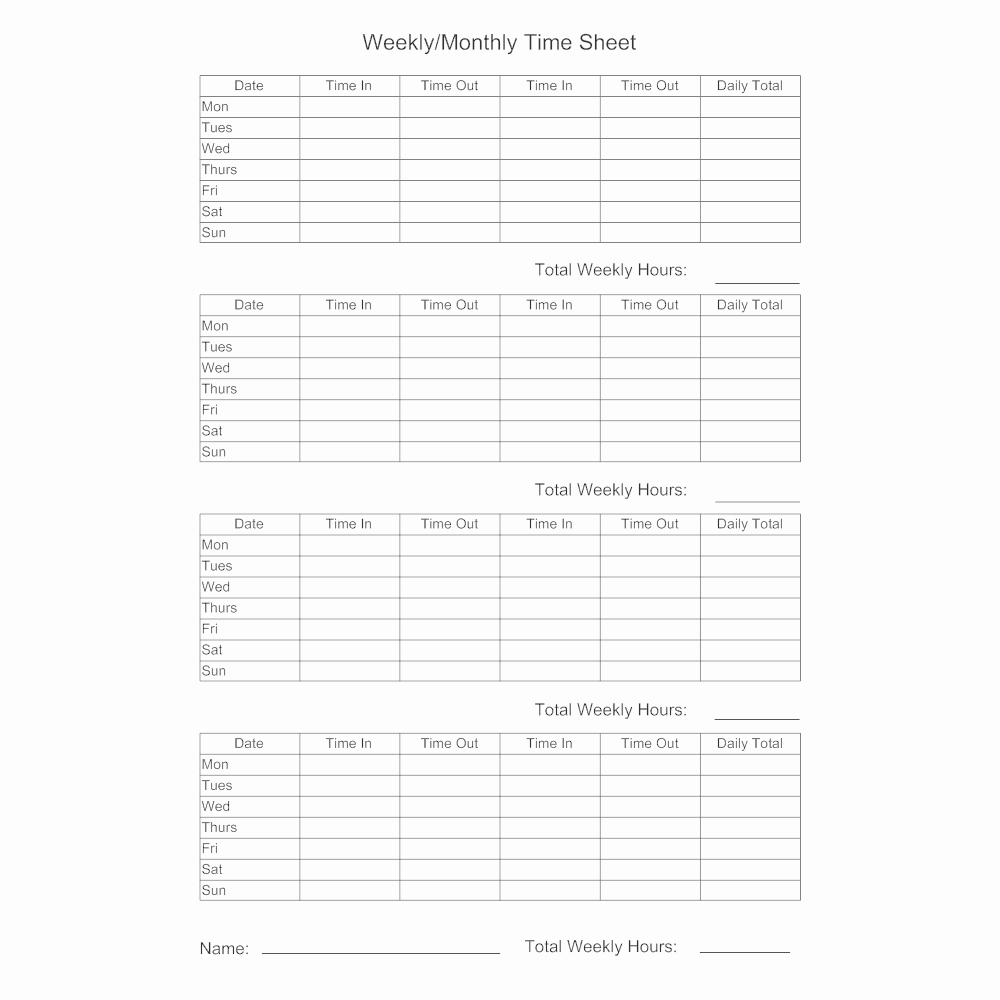 Weekly Time Sheet Template Elegant Timesheet Template