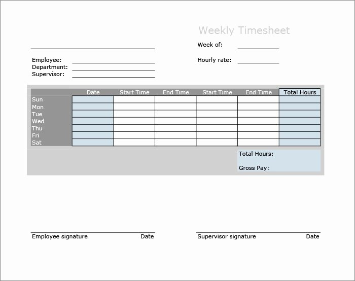 Weekly Time Sheet Template Lovely 60 Sample Timesheet Templates Pdf Doc Excel