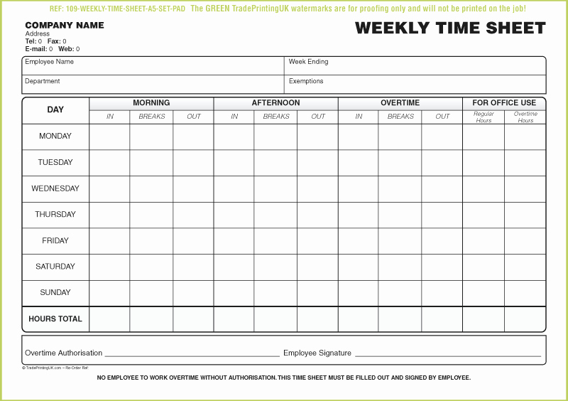 Weekly Time Sheet Template Lovely Free Daily Timesheet Template form Printed From £50