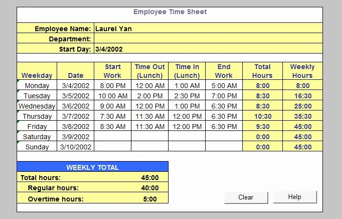 Weekly Time Sheet Template New 60 Sample Timesheet Templates Pdf Doc Excel