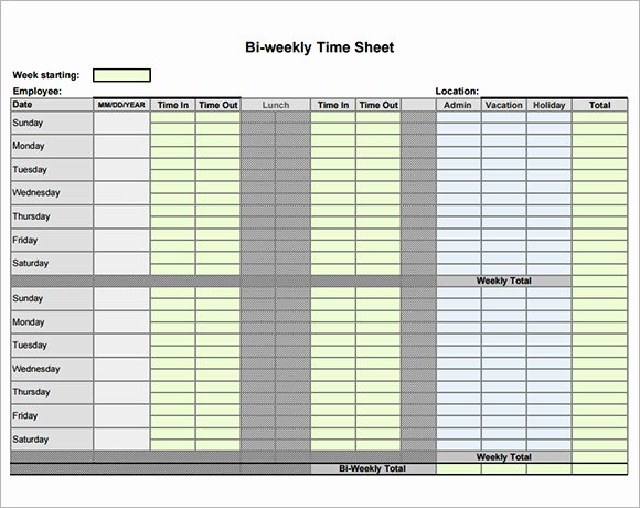 Weekly Time Sheet Template New 9 Sample Biweekly Timesheet Templates to Download