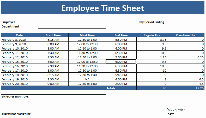 Weekly Time Sheet Template New Employee Timesheet Template Weekly and Monthly