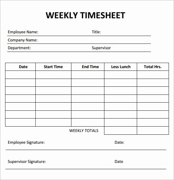 Weekly Time Sheet Template New Weekly Timesheet Template 7 Free Download for Pdf