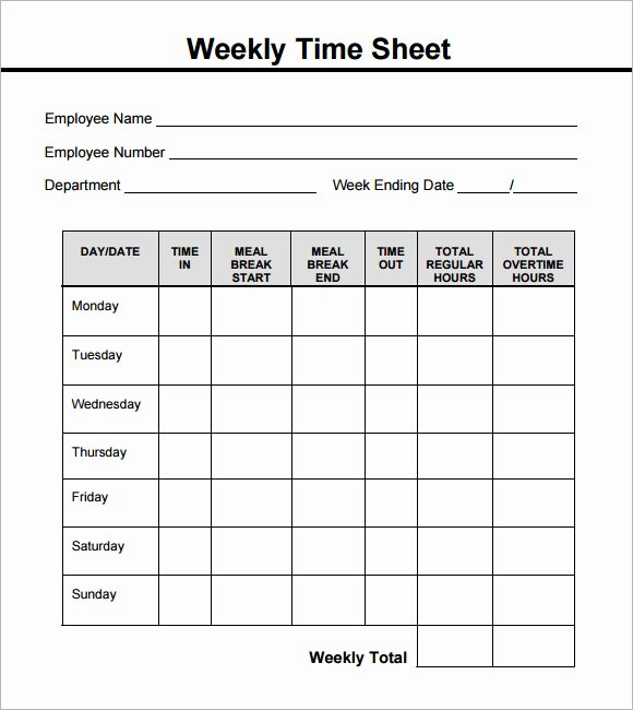 Weekly Time Sheet Template Unique 15 Sample Weekly Timesheet Templates for Free Download