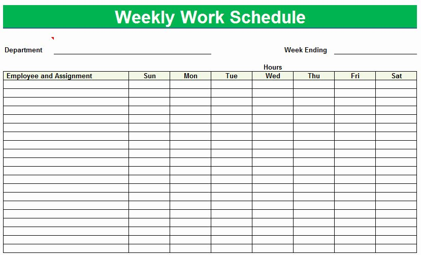 Weekly Work Schedule Template Free Awesome 8 Best Of Printable Weekly Employee Schedule Sheets
