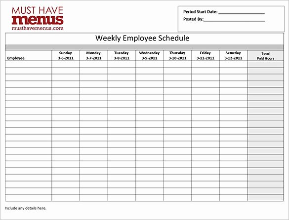 Weekly Work Schedule Template Free Awesome Employee Work Schedule Template 16 Free Word Excel