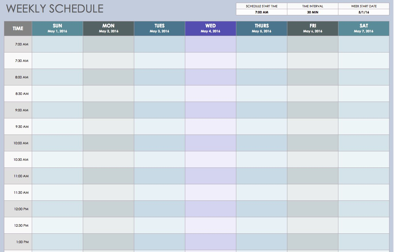 Weekly Work Schedule Template Free Best Of Free Weekly Schedule Templates for Excel Smartsheet