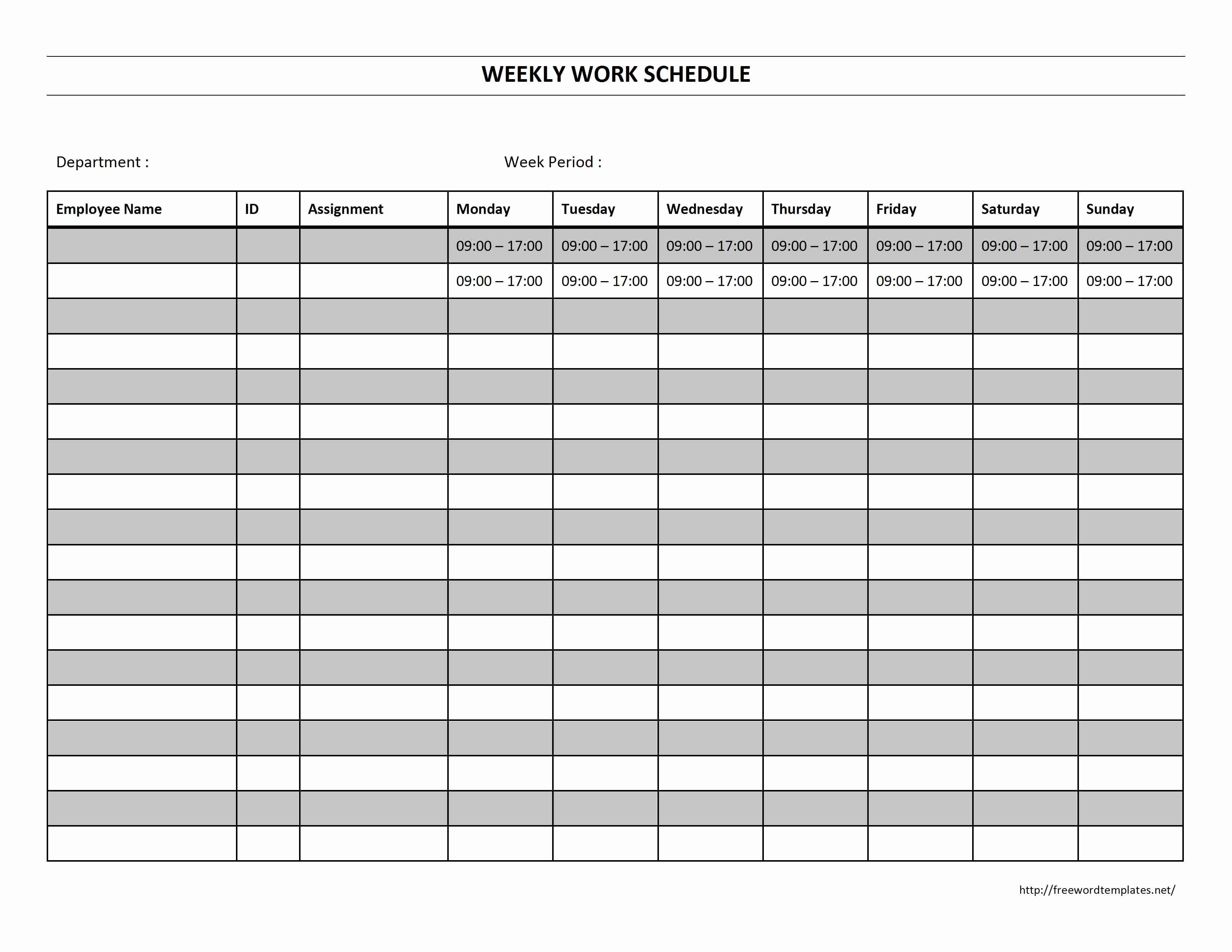 Weekly Work Schedule Template Free Lovely Weekly Work Schedule