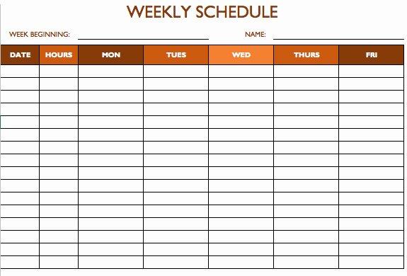 Weekly Work Schedule Template Free Luxury Free Work Schedule Templates for Word and Excel