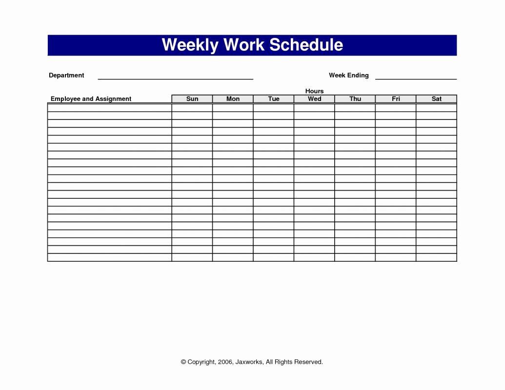 Weekly Work Schedule Template Free Luxury Weekly Work Schedule Template