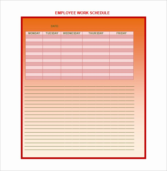 Weekly Work Schedule Template Pdf Beautiful 9 Weekly Work Schedule Templates Pdf Doc