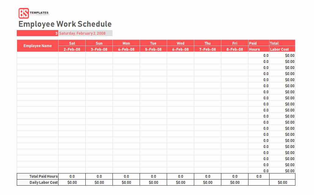 Weekly Work Schedule Template Pdf Fresh Work Schedule Template Daily Weekly