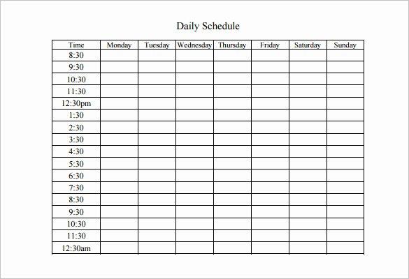 Weekly Work Schedule Template Pdf Inspirational Weekly Work Schedule Template 8 Free Word Excel Pdf