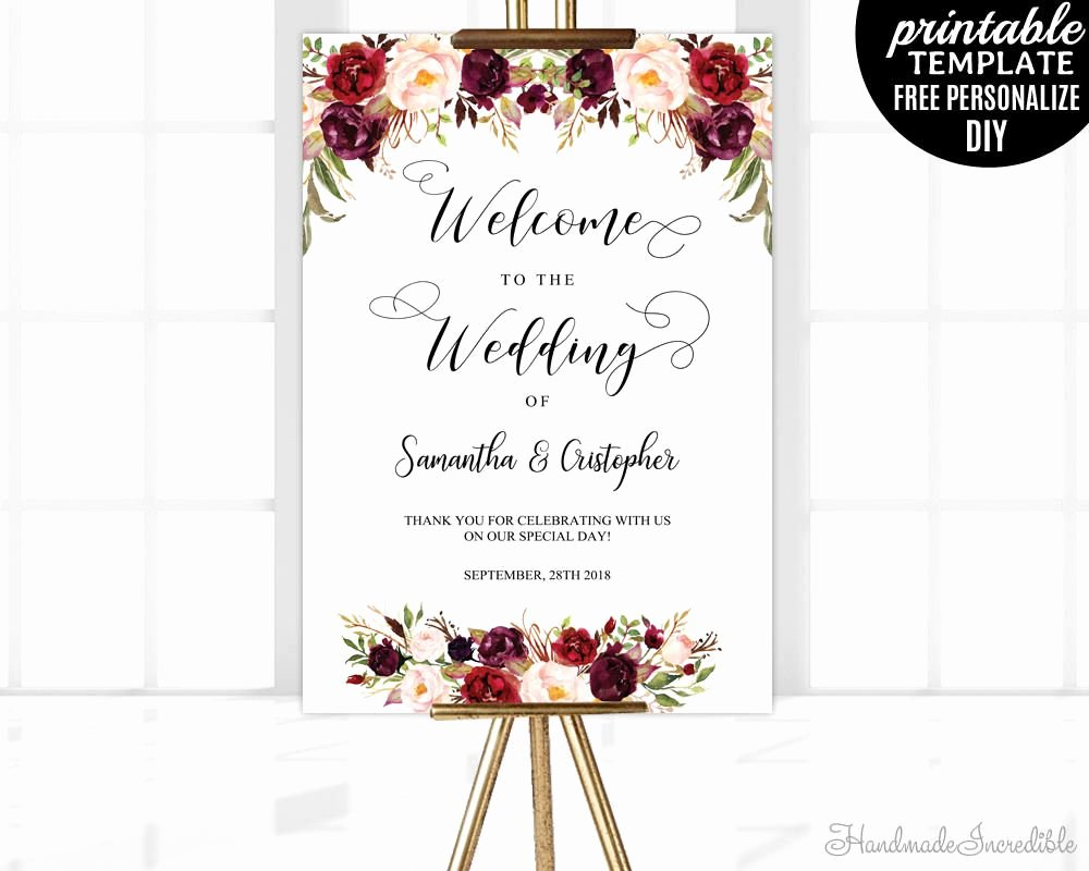 Welcome Sign Template Free Best Of Marsala Wedding Wel E Poster Template Printable Floral