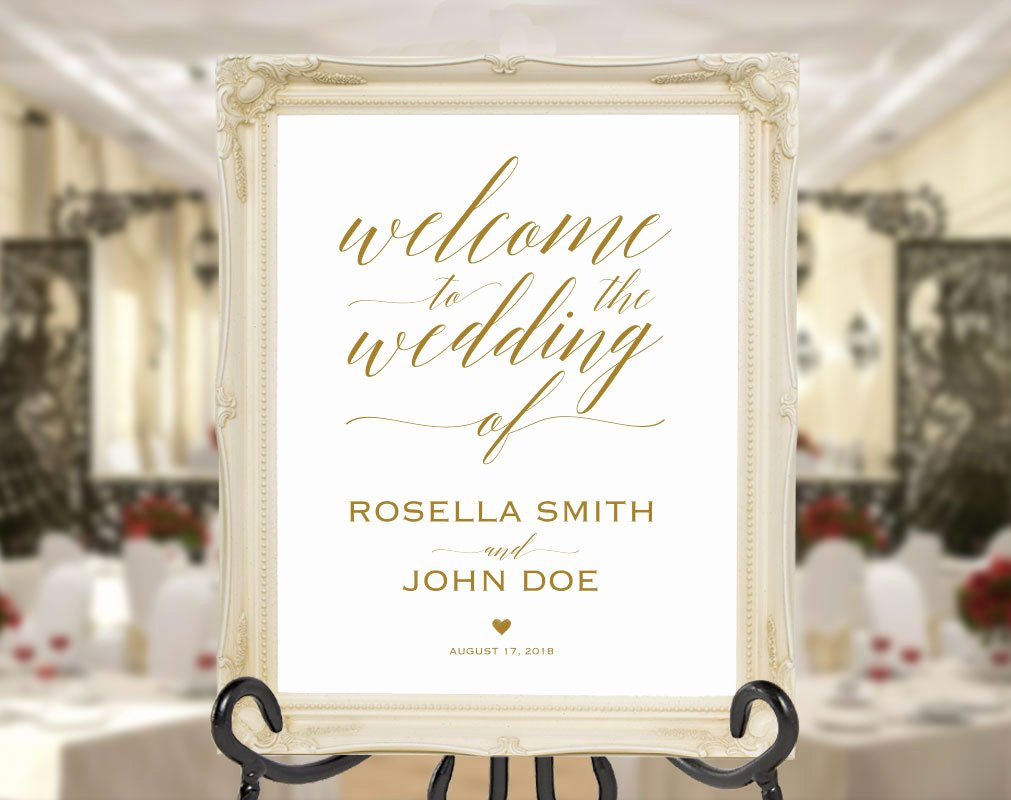 Welcome Sign Template Free Fresh Gold Wedding Wel E Sign Template Wel E to Our Wedding