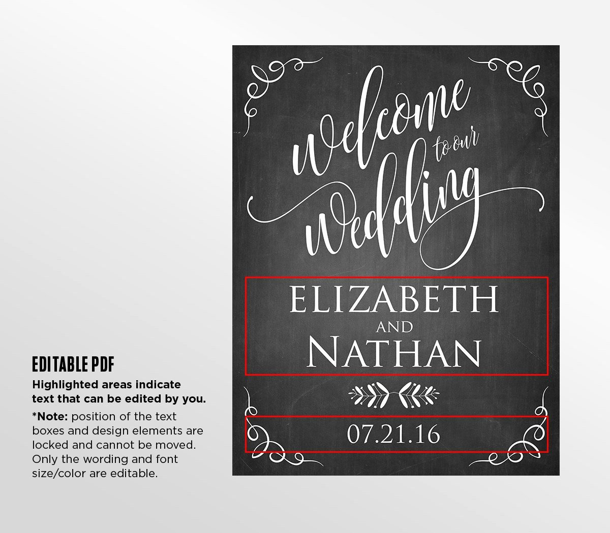 Welcome Sign Template Free Fresh Printable Wedding Wel E Sign Template Rustic Chalkboard