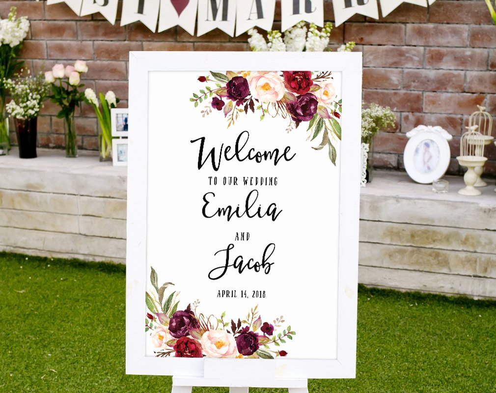 Welcome Sign Template Free Inspirational Wedding Wel E Sign Template Printable Wedding Reception