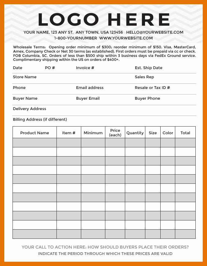 Wholesale order form Template Fresh 6 7 Er S order form