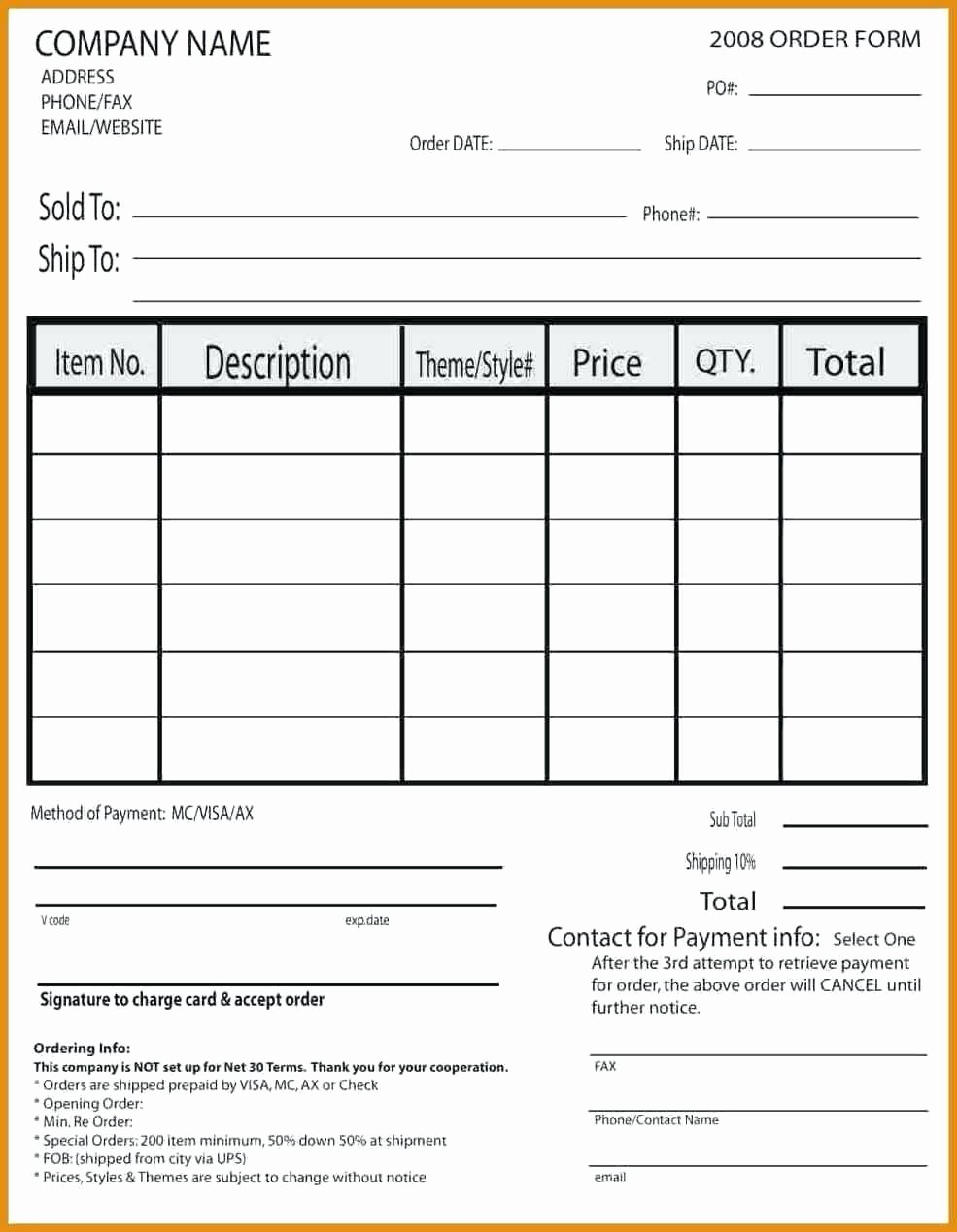 Wholesale order form Template New Template Pany order form Template
