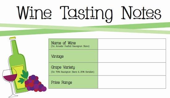 Wine Tasting Menu Template Inspirational Printable Wine Tasting Notes