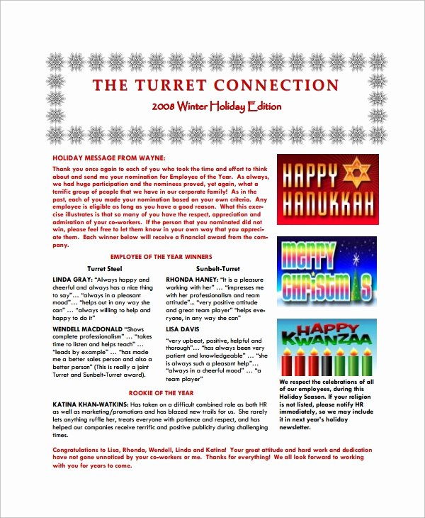 Winter Newsletter Template Free Best Of 8 Sample Holiday Newsletter Templates