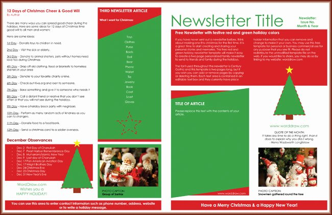 Winter Newsletter Template Free Best Of 9 Christmas Newsletter Templates to Create Printable and