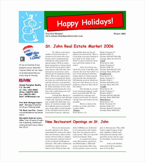 Winter Newsletter Template Free Fresh 9 Christmas Newsletter Templates – Free Sample Example